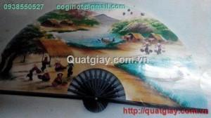 quạt giấy vẽ làng quê việt nam