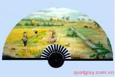Tranh quạt cảnh gặt lúa-228x153